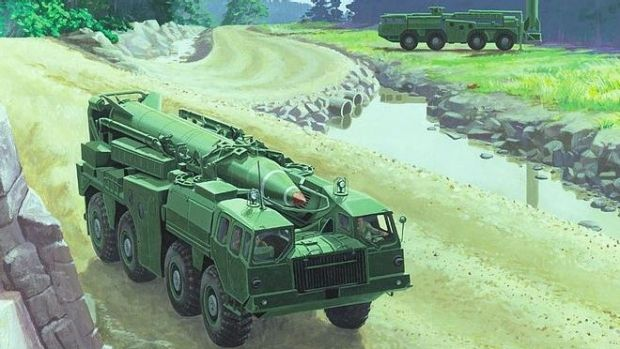 The Hwasong-5 is also known as a Scud-B, pictured here on a mobile missile launcher in an artist's rendering.
