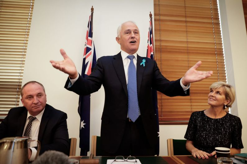 Deputy Prime Minister and Minister for Infrastructure and Transport Barnaby Joyce, Prime Minister Malcolm Turnbull and ...