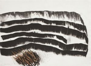 TRAVELLING NORTH (1989) BY GUY WARREN, CHARCOAL & CRAYON 56.5 X 77CM.