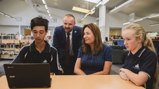 ACT Chief Minister Andrew Barr and Education Minister Yvette Berry at Kingsford Smith School for the rollout of ...