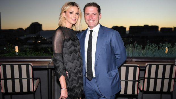 Karl Stefanovic and Jasmine Yarbrough at Harper's Bazaar Australia's 20th anniversary edition party on Tuesday night at ...