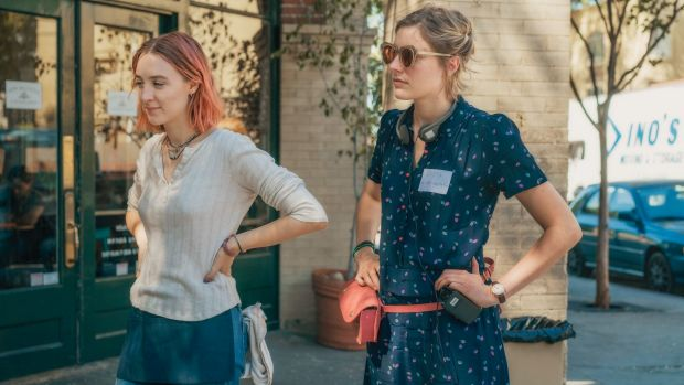 Greta Gerwig, right, and Saoirse Ronan on the set of <i>Lady Bird</i>. Gerwig has been nominated for an Oscar for best ...