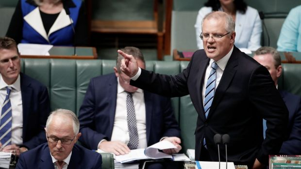 Prime Minister Malcolm Turnbull and Treasurer Scott Morrison during Question Time
