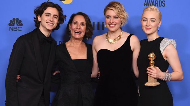 Timothee Chalamet (from left), Laurie Metcalf, Greta Gerwig and Saoirse Ronan after winning their Golden Globe for best ...