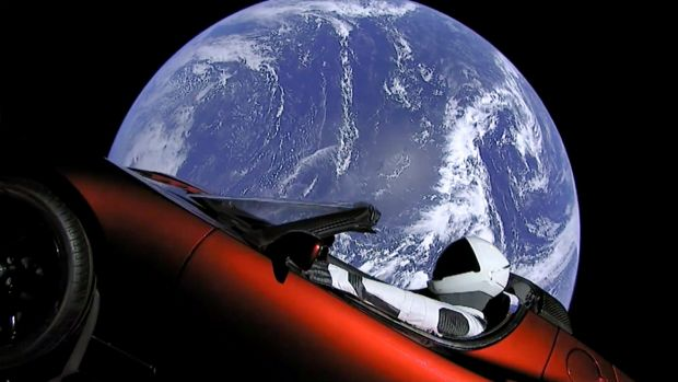 Elon Musk's red Tesla sports car was launched into space during the first test flight of the Falcon Heavy rocket.