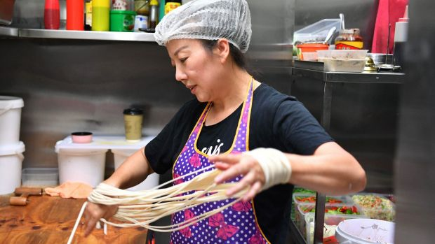 Hand-pulled noodles.