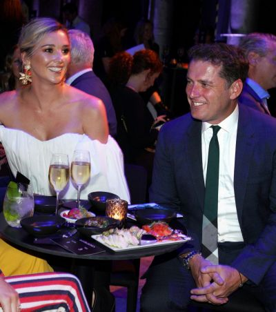 Karl Stefanovic and fiance Jasmine Yarbrough attend the 2018 David Jones Autumn Winter collection launch.