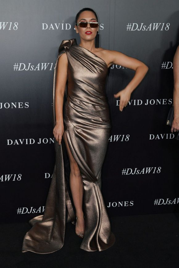 George Maple who performed on the evening arrives at the red carpet for the 2018 David Jones Autumn Winter collection launch.