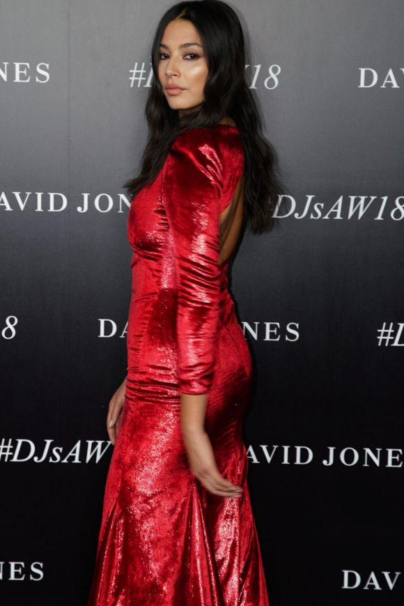 Model and David Jones Ambassador Jessica Gomes arrives at the red carpet in Camilla and Marc.