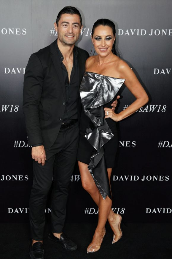 Terry Biviano and Anthony Minichiello arrive at the red carpet for the 2018 David Jones Autumn Winter collection launch.