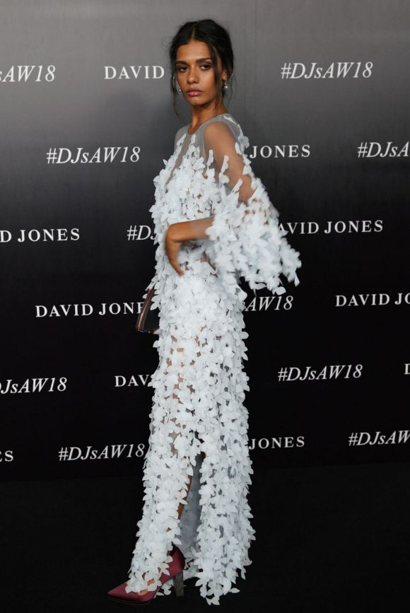 Madeleine Madden arrives at the red carpet for the 2018 David Jones Autumn Winter collection launch.