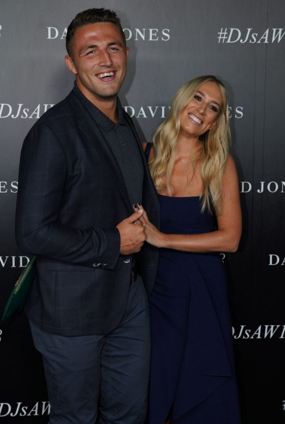 Sam Burgess and Phoebe arrive at the red carpet for the 2018 David Jones Autumn Winter collection launch.