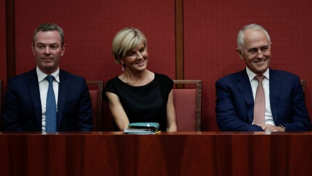 Minister for Defence Industry and Leader of the House Christopher Pyne, Foreign Affairs Minister Julie Bishop and Prime ...