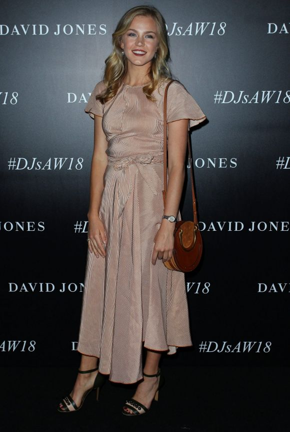 Sophia Forrest arrives ahead of the David Jones Autumn Winter 2018 Collections Launch.