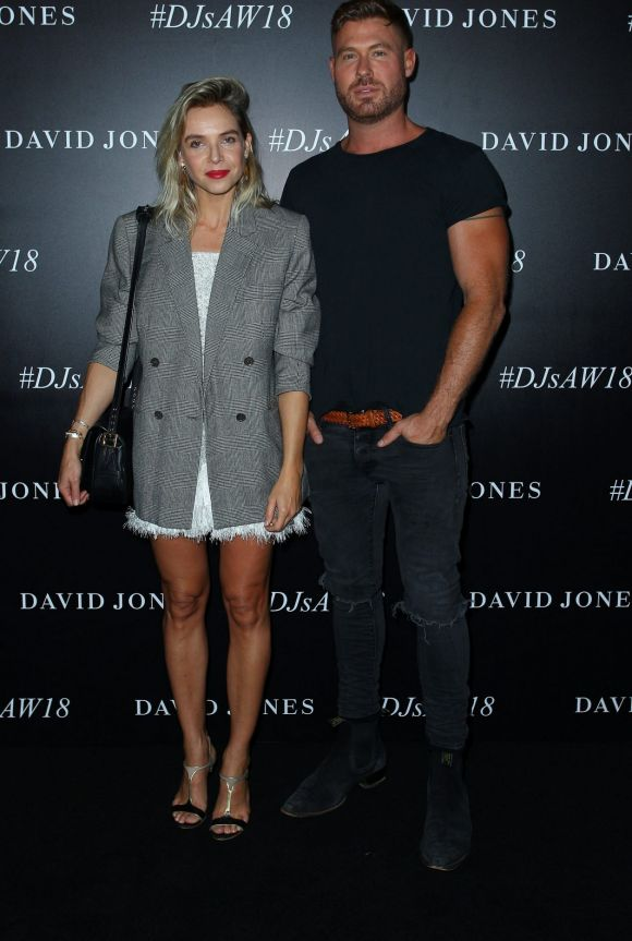 Adrian Norris and Edwina Robinson of AJE arrive ahead of the David Jones Autumn Winter 2018 Collections Launch.