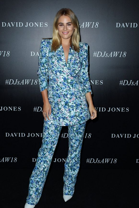 Carissa Walford arrives ahead of the David Jones Autumn Winter 2018 Collections Launch.
