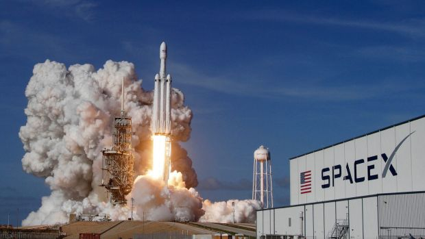 The Falcon 9 SpaceX heavy rocket lifts off from the Kennedy Space Centre in Florida.