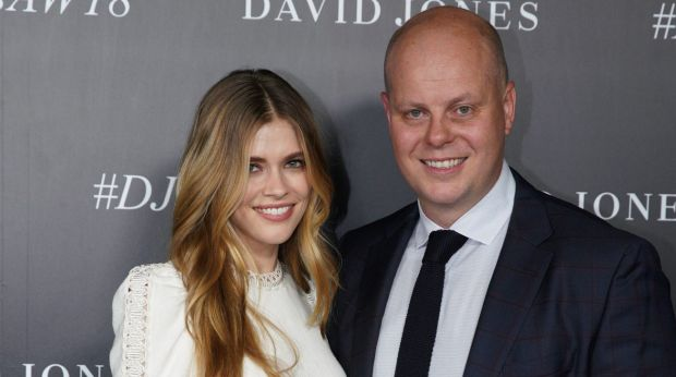 A photo of David Jones ambassador Victoria Lee and CEO David Thomas that was incorrectly filed as 'Jesinta Campbell' by ...
