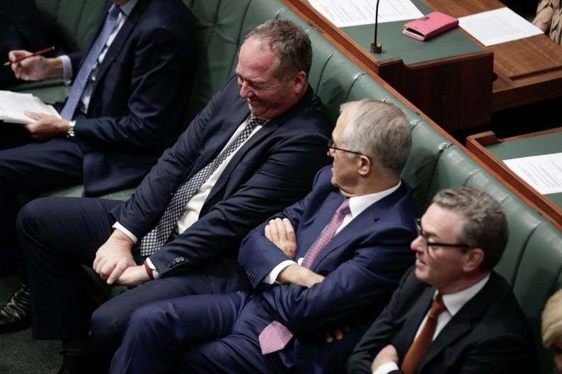 Barnaby Joyce and Prime Minister Malcolm Turnbull during a division in the House of Representatives at Parliament House ...