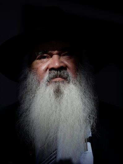 Senator Pat Dodson addresses the media during a doorstop interview after the 2018 Closing the Gap Steering Committee ...
