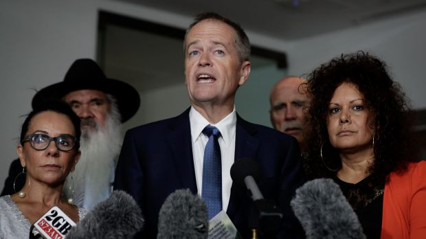 Bill Shorten at a press conference today with Indigenous Labor MPs Linda Burney, Pat Dodson and Malarndirri McCarthy. ...
