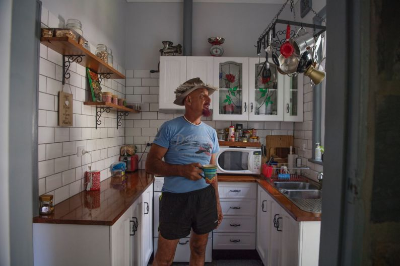 Sam Sarkis, 63, at home, whose home is being acquired by the NSW govt for the expansion of the hospital. Eurimbla Avenue ...