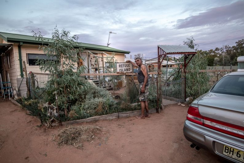 Dave Edwards outside his home on the old Aboriginal Mission in Balranald on February 2, 2018.
