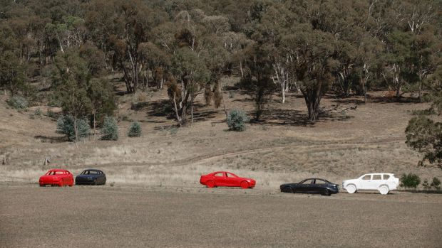 Australian Target Systems plastic car targets set up at the site.