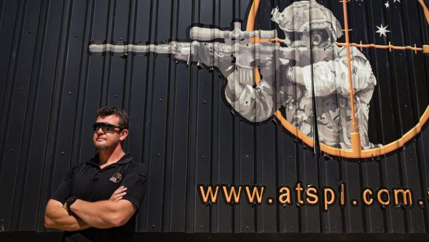 CEO of Australian Targeting Systems Paul Burns outside the company's 'soundproof' mobile firing range, which will also ...