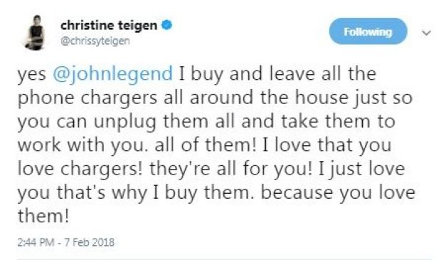 Chrissy Teigen and John Legend are going through a bit of a phone battery power struggle in their relationship. The ...