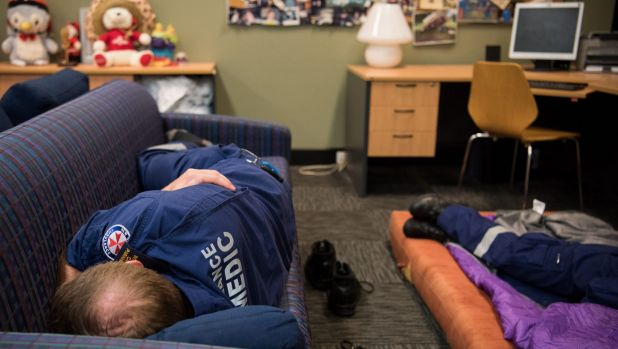 In quiet periods, paramedics are encouraged to recline and rest, before the next job.