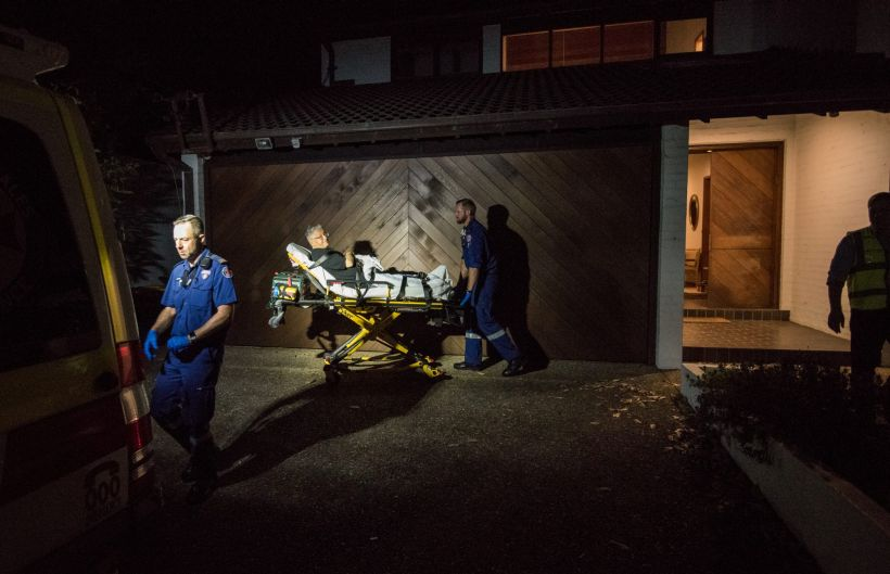 1:10am. NSW Ambulance Paramedics Eugene Roser (left) and Gareth Garne arrive at a home in Bellevue Hill to treat an 82 ...