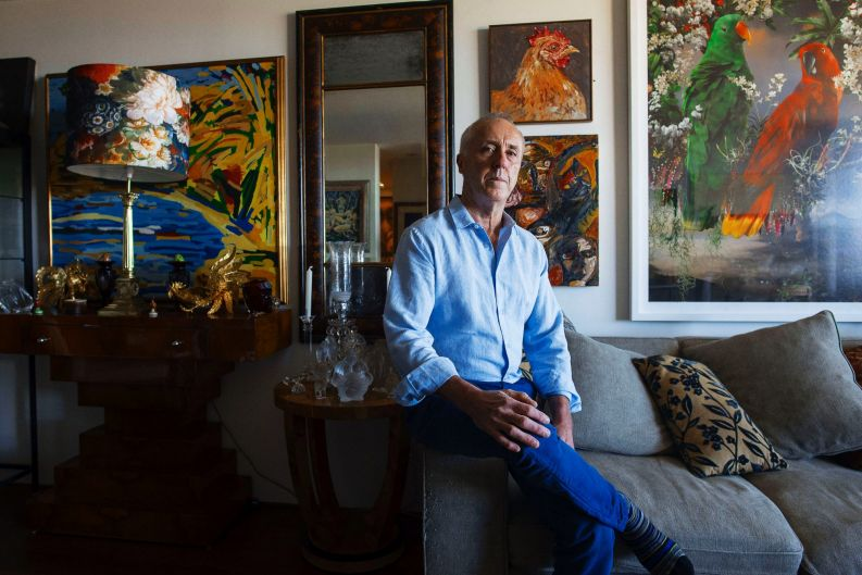 Mark Coppleson art collector at his home.
