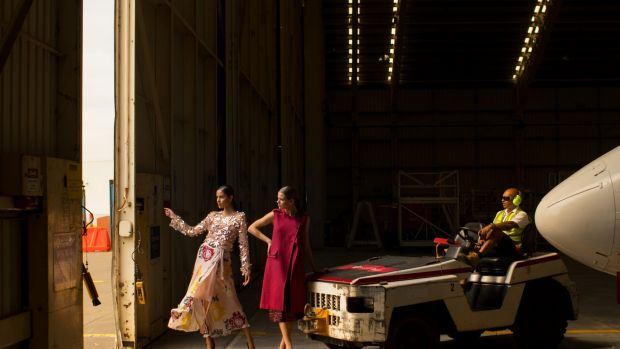 Models in Ginger and Smart pictured in the Virgin Australia hangar at Melbourne Airport. The fashion label will star in ...