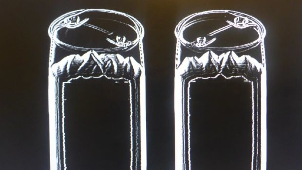 An x-ray of two of the large drums which allegedly contained the drug.
