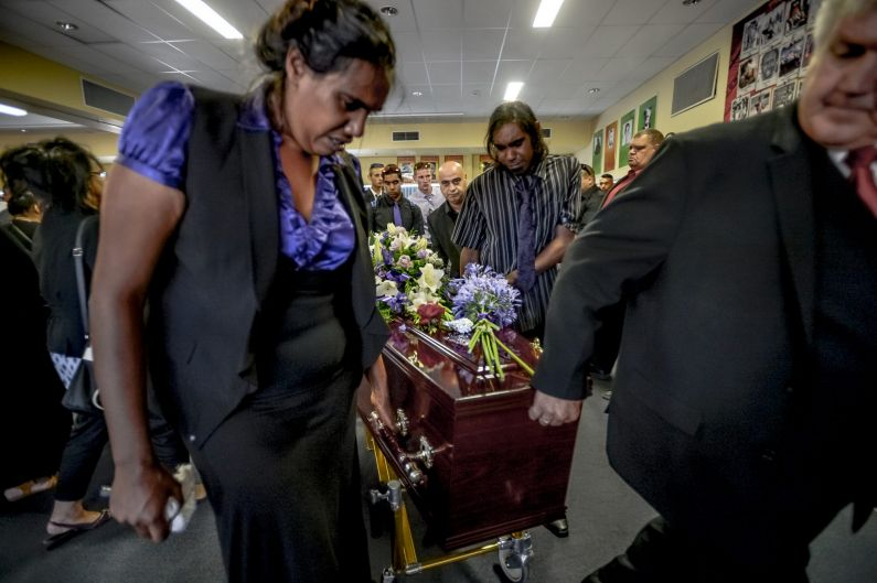 The Edwards family at the funeral for Alice Edwards in 2015.