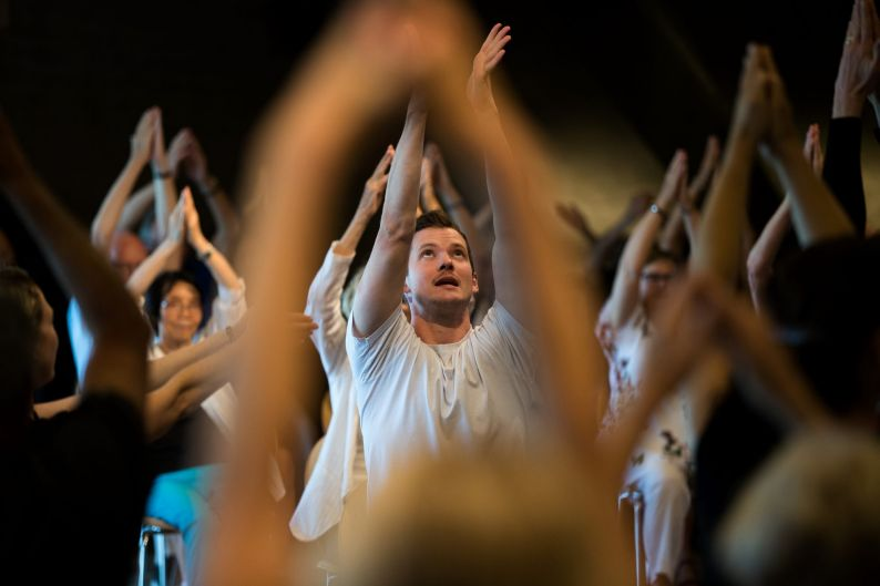 Ben Warbis from Michael Clark Company leads dancers who have Parkinsons Disease through some dance moves in the Utzon ...