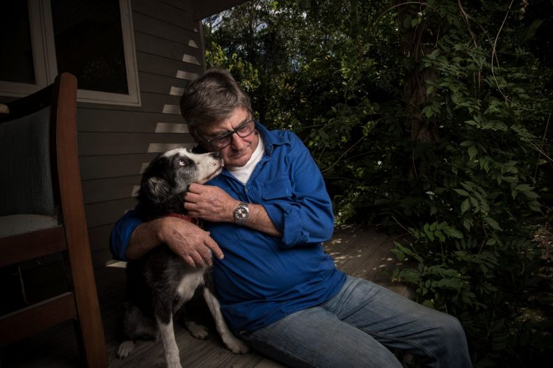 Portrait of Michael Haberland and his 15 yrs old Border Collie Micky at his Kangaroo Valley home. Michael was a victim ...