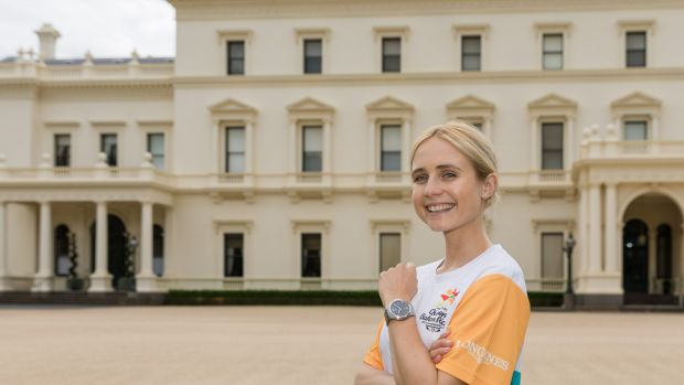 Actress Tessa James at Victoria's Government House before her run in the Gold Coast Commonwealth Games Queen's Baton ...