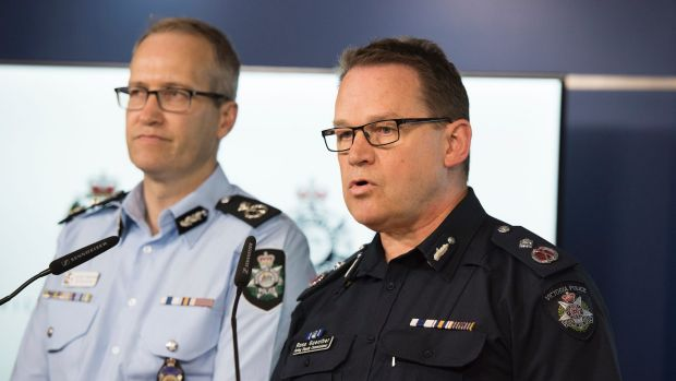 Australian Federal Police Acting Deputy Commissioner National Security Ian McCartney (Left) and Victoria Police acting ...