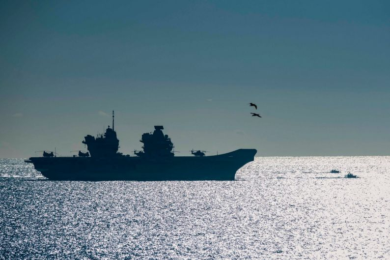 The 65,000-tonne HMS Queen Elizabeth, the largest warships ever built for the Royal Navy of the United Kingdom, arrives ...