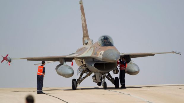 An Israeli F-16 jet at the Ovda airbase near Eilat, southern Israel.