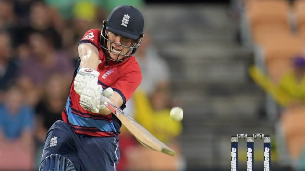 Six and out: Eoin Morgan could miss the rest of the T20 series through injury.