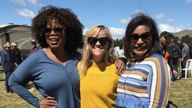 Oprah, Reese Witherspoon and Mindy Kaling on set in New Zealand for their new film, <I>A Wrinkle In Time</i>.