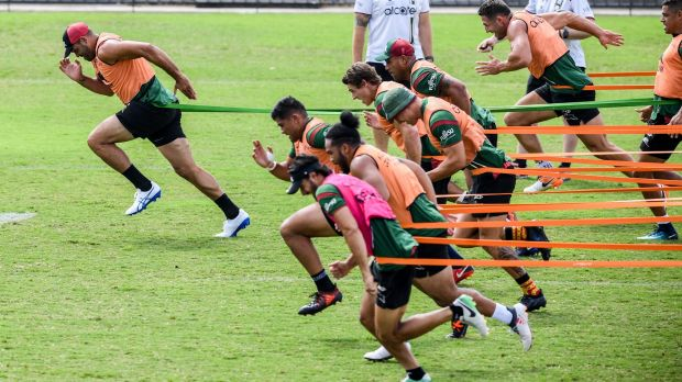 Ahead of the pack: Greg Inglis completes his first week of training as part of his recovery from an ACL tear.