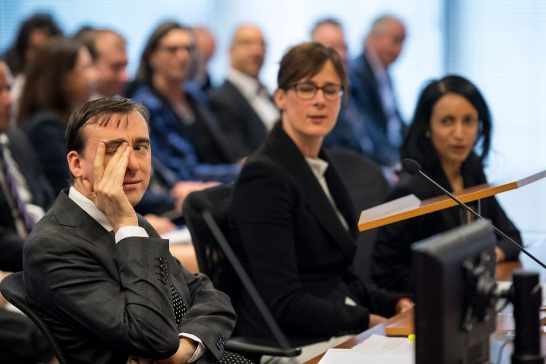The Royal Commission into the Financial Services Industry. Senior Counsel Rowena Orr in the middle with Mark Costello, ...