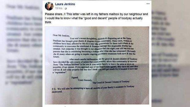 Mr Jenkin's family copped a 'ridiculous' letter in the mail.