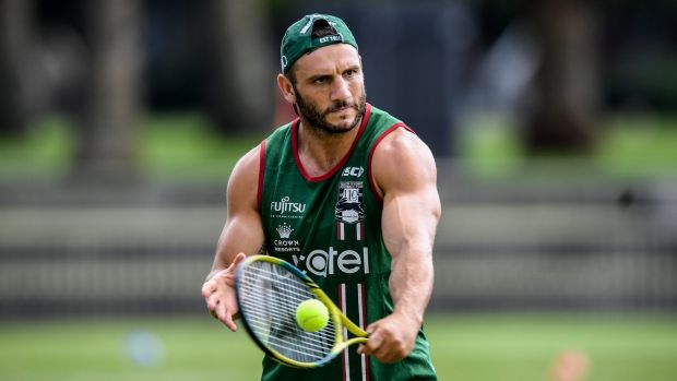Cross training: Robbie Farah changes things up at Souths training.