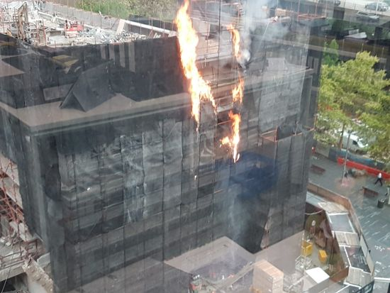 It appears the fire started at the top of the scaffolding of the building. Pics supplied to rachel.clun@fairfaxmedia.com.au