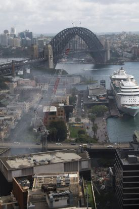 The fire on the corner of Pitt and Alfred Streets caused commuter issues with trains halted and the Cahill Expressway closed.